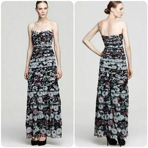 BCBGMaxAzria erika strapless floral print gown